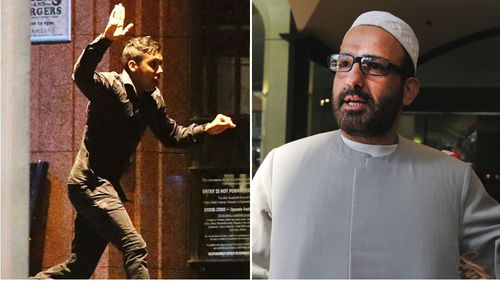 Hostage Joel Herat escapes the Lindt cafe (left) and gunman Man Haron Monis. (Getty/AAP)