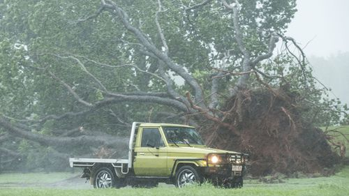 Tropical Cyclone Marcus intensified to a Category 2 storm today and has been bearing down on Darwin with torrential rains and wind gusts of up to 130km/h. Picture: AAP.
