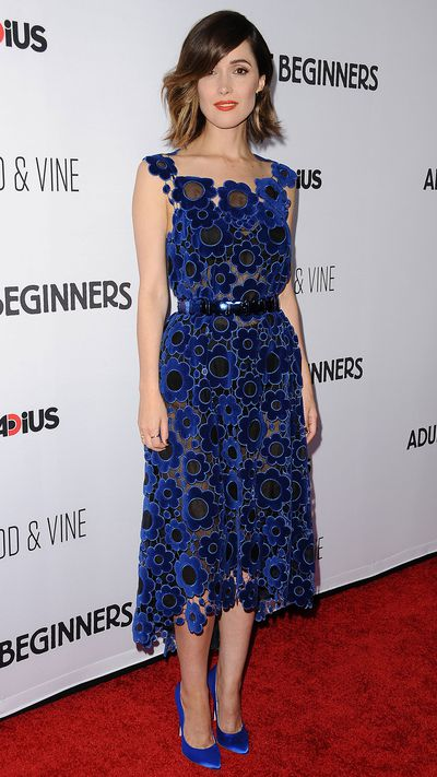 <p>Electric in Christopher Kane at the premiere of <i>Adult Beginners</i> in L.A.&nbsp;</p>