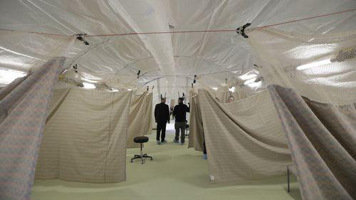 A negative pressure tent outside the University of Utah's hospital, designed to reduce the risk of coronavirus spreading.