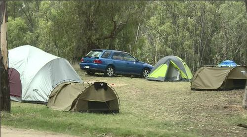 The popular camping spot is west of Albury in NSW.