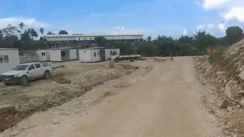 The video, taken by refugee Ezathullah Kalar, shows unfinished buildings and partially cemented paths.  (Ezuthullah Kalar)