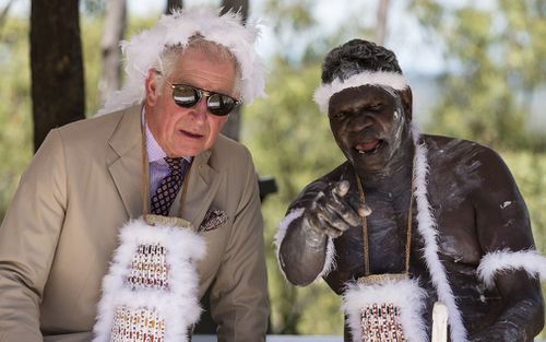 Charles was presented with a feather headdress. (AAP)