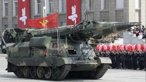 North Korea displayed its military wares in a parade on April 15. (AAP)