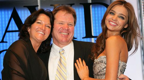 Miranda Kerr poses with her parents at the David Jones Summer 2008 Collections Launch in Sydney. (Getty)