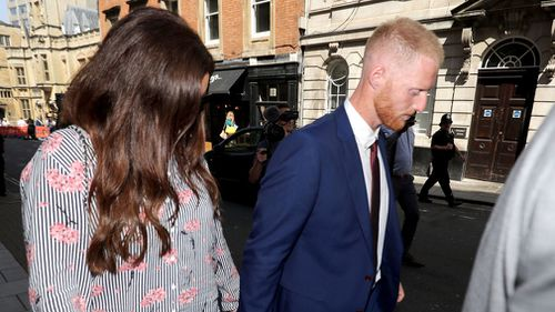 Ben Stokes arrives at Bristol Crown Court for the first day of his trial. Picture: AAP