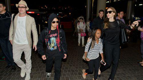 Brangelina with children Maddox Jolie-Pitt, Zahara Jolie-Pitt at LAX. (Getty Images)
