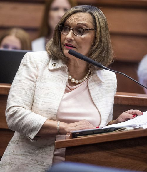 Sen. Vivian Figures speaks as debate on HB314, the near-total ban on abortion bill, is held in the senate chamber in the Alabama Statehouse in Montgomery, Alabama.