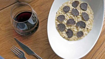 """Recipe:&nbsp;<a href=""""http://kitchen.nine.com.au/2016/07/19/10/58/stefano-manfredis-risotto-with-black-truffles-butter-and-parmesan"""" target=""""_top"""">Stefano Manfredi's risotto with black truffles, butter and Parmesan</a>"""