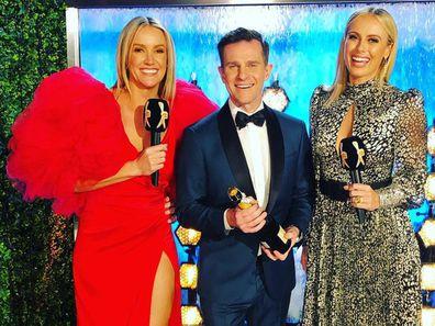Leila McKinnon, David Campbell and Sylvia Jeffreys at the 2019 Logie Awards.