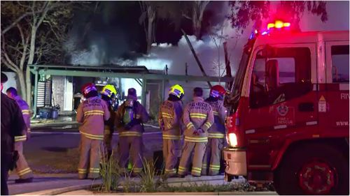 Emergency crews were called to a house fire in Rouse Hill this morning where a man was arrested for allegedly trying to re-enter the house and assaulting a fire crew member.