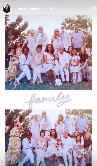 Bruce Willis, Emma Heming, Demi Moore, Rumer Willis, Scout Willis, Tallulah Wills, Mabel Willis, Evelyn Willis