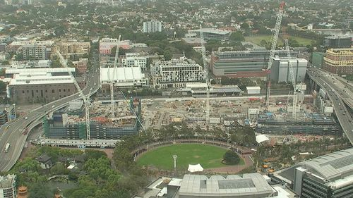 Darling Harbour is currently a construction site, with works scheduled for completion in 2016. (9NEWS)