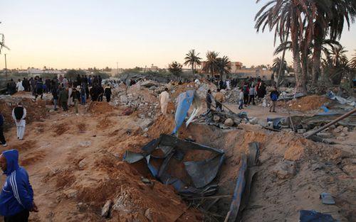 Damage after an airstrike by US warplanes against a jihadist training camp in Sabratha, Libya (AAP).
