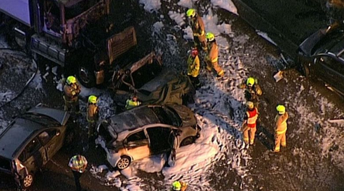The multi-car pile up caused heavy delays on the M1 motorway last month.