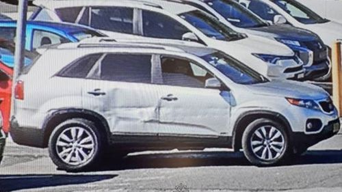 The pair are believed to be in a silver Kia Sorrento with significant damage to the driver and back right-side doors, and NSW number plate CZ83LS.