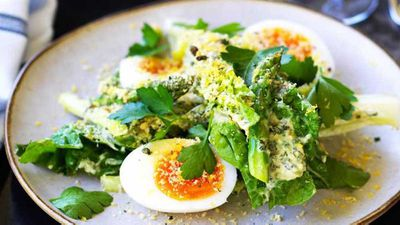 "Recipe: <a href=""http://Chiswick's asparagus and cos salad with bottarga and soft egg"" target=""_top"">Chiswick's asparagus and cos salad with bottarga and soft egg</a>"
