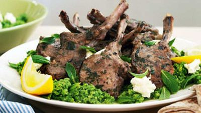 """<a href=""""http://kitchen.nine.com.au/2016/05/17/12/09/oregano-lamb-cutlets-with-ricotta-mashed-peas"""" target=""""_top"""">Oregano lamb cutlets with ricotta & mashed peas</a> recipe"""