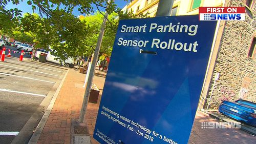 The first 55 sensors have been placed in spaces around Light Square. (9NEWS)