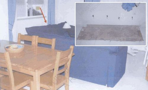 Police photographs show where floor tiles were lifted behind a blue sofa in the McCann holiday apartment and DNA samples were swabbed.