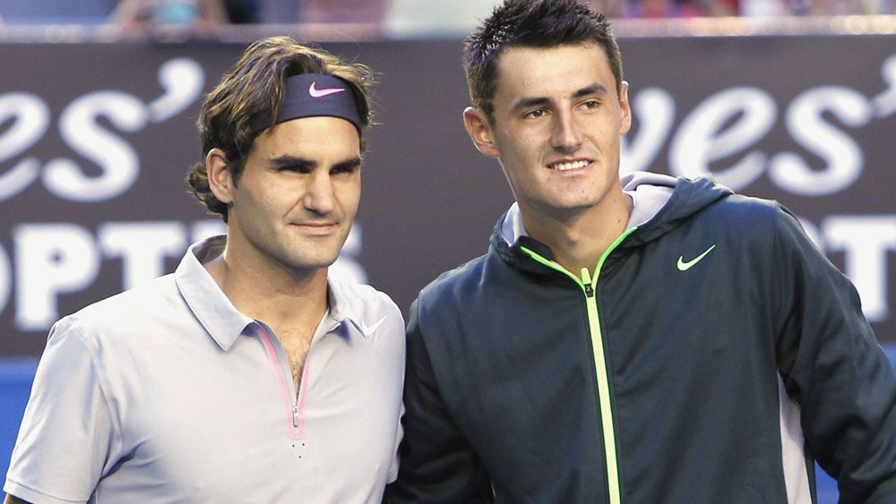 Roger Federer and Bernard Tomic. (AAP)