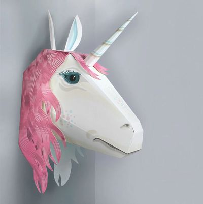 """<a href=""""https://www.hardtofind.com.au/157519_make-your-own-magical-unicorn-friend"""" draggable=""""false"""">Make Your Own Magical Unicorn, $33.</a>&nbsp;Create a shimmering unicorn head  perfect for hanging on your bedroom wall, no scissors or glue required."""