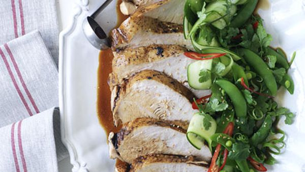 Soy-poached turkey breast