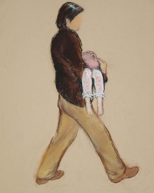 An artist's impression of the man Jane Tanner said she saw carrying a child away from the direction of Kate and Gerry McCann's apartment on the night Madeleine was reported missing.