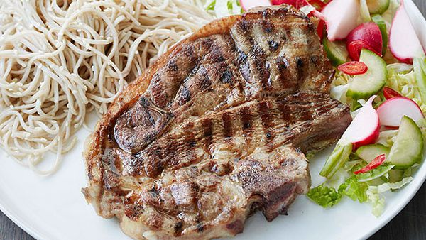 Ita Buttrose's grilled lamb forequarter chops with soba noodle salad