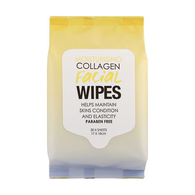 "<a href=""http://www.kmart.com.au/product/facial-wipes---moisturising-collagen,-pack-of-30/1426305"" target=""_blank"">Kmart Collagen Facial Wipes, $2.50 (Pack 30).</a>"