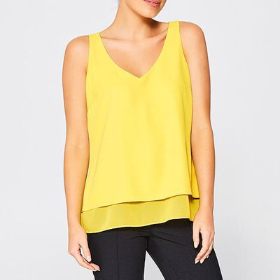 "<a href=""https://www.target.com.au/p/double-layered-cami/60256546"" target=""_blank"" draggable=""false"">Target Double Layered Cami in Celery, $19</a>"