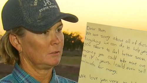 Queensland farmer Jaye Hall and the letter written by her children.