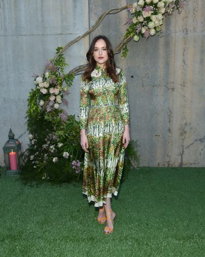 Dakota Johnson in Gucci at the Gucci Bloom fragrance launch event in New York, May, 2017