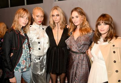 Edie Campbell, Adwoa Aboah, Cara Delevingne, Lily James and Felicity Jones at Burberry, autumn/winter '16, London Fashion Week