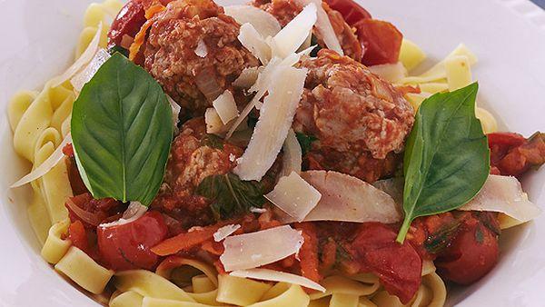 Zoe Bingley-Pullin's meatballs with fettuccine and tomato sauce