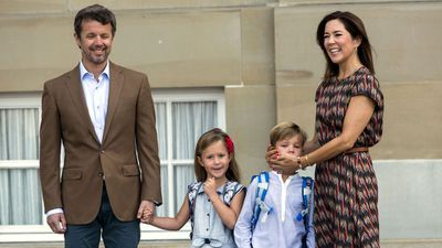 Princess Mary and Prince Frederick accompany their twins on their first day of school, August 2017