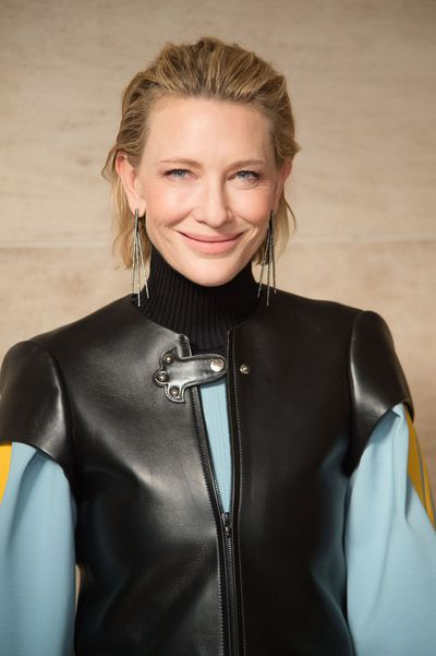 <p>Cate Blanchett, 48, has stepped out in a bold black leather outfit for the Louis Vuitton Spring/Summer 2018 show at Paris Fashion Week.</p> <p>The actress teamed her Viking-like vest with swept-back, wet-look hair and long drop earrings. She opted for a nearly nude face, her perfect skin glowing, lashes long and that famous mouth sporting just a hint of nude lipstick. The actress was not the only A-Lister to dress in head-to-toe LV to attend the show - not by a long shot.</p> <p>She was joined by LV fan and ambassador Michelle Williams and Julieanne Moore plus plenty of other famous faces who attracted almost as much attention as the fashion itself. That said, the models who strutted down the runway were well received by the fashion-forward crowd who were delighted by the edgy new direction the house has taken.</p> <p>Designer and creative director Nicolas Ghesqui&egrave;re dressed models in bold stripes, brocaded jackets and floral skirts that seemed to hover in the air. There was a nod to science fiction and current culture with a T-shirt highlighting the Netflix cult series Stranger Things.</p> <p>There were plenty of exposed shoulders, slim silhouettes and sheer, shimmering silver and we're pretty confident you're going to want it all.</p> <p>Click through for celebrity pics and also, looks direct from the Paris runway to you.</p> <p>&nbsp;</p>