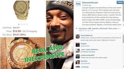 "<p>A new Instagram account is calling out social media show offs posting pictures of their fake diamond-encrusted watches.</p><p> ""Fakewatchbusta"" is targeting rappers, athletes, reality stars, and even politicians, Business Insider reports. </p><p>  The account is responsible for calling out the likes of NBA star Carmelo Anthony and rappers Rick Ross, Future, Soulja Boy, and Waka Flocka Flame for wearing fake time pieces. </p><p> It has amassed nearly 80,000 followers since it was created in March. </p><p> Behind the Fakewatchbusta account is an anonymous 30-something male who ""resides somewhere on the continent of Europe"". </p><p>  Fakewatchbuster explained how the account works in an interview with Hodinkee, revealing he revels in publicly ridiculing the people they ""bust"".</p><p>  ""The tag #Rolex gives the most results and there are a lot of people trying to show off their fake watch as real to get likes and admiration from others on Instagram,"" he said. </p><p>  ""When I have found a candidate for busting I re-post the watch and tag the person who posted the watch with an added little insult/humorous message. </p><p>  ""I often also tag friends of the person I'm busting to humiliate the fake owner even more. </p><p>  Apart from describing the process, he declined to give any further details. </p><p>  ""I don't want to [say much more] since the threat of lawsuits are starting to pile up from the jewellers selling these fake watches,"" they told Vice. </p><p>  Source: <a href="" http://www.businessinsider.com.au/instagram-fakewatchbusta-shows-rappers-with-fake-watches-2014-5 "">Business Insider</a></p>"