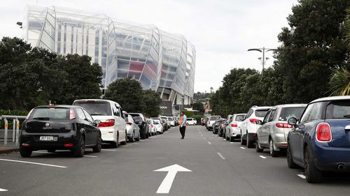 A long queue of cars at Eden Park wait for a Covid-19 test in Auckland, New Zealand.