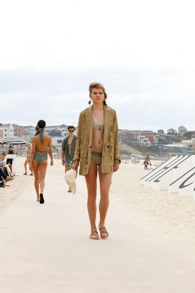"Jacket: Manning Cartell, $649 at <a href=""http://www.theiconic.com.au/military-precision-jacket-397410.html"" target=""_blank"">The Iconic</a><br> Bikini: Nookie Beach, $59 at <a href=""http://www.theiconic.com.au/sugar-baby-vintage-briefs-433611.html"" target=""_blank"">The Iconic</a><br> Shoes: Urge, $99.95 at <a href=""http://www.theiconic.com.au/ruby-398190.html"" target=""_blank"">The Iconic</a><br>"