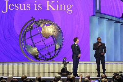 Kanye West, pastor Joel Osteen, Lakewood Church, service,  Houston