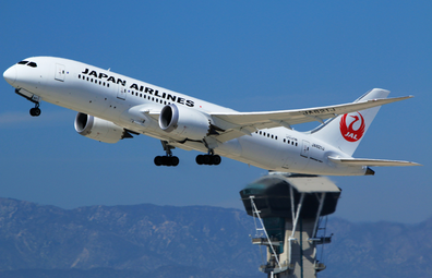 Japan Airlines plane taking off