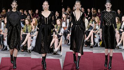 """<p>Channel the """"Victorian Chola"""" girls from Givenchy's Fall 2015 runway in a gothic-inspired black dress. Look for long sleeves, delicate stitching and a flattering A-shape for a dark, romantic look with just a touch of Wednesday Addams.</p>"""