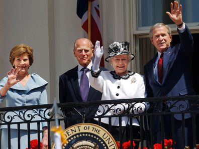 George W Bush with the Queen and Prince Philip, 2007