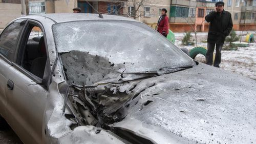 A damaged car is seen after shelling in the eastern Ukrainian city of Kramotorsk. (Getty)