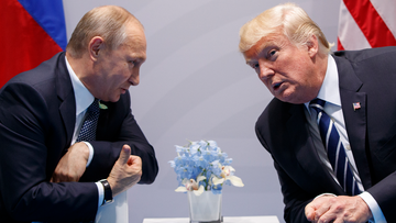 US President Donald Trump meets with Russian President Vladimir Putin at the G-20 Summit, Friday, July 7, 2017, in Hamburg. (AP Photo/Evan Vucci)
