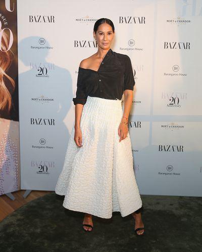 Model Lindy Klim at the Harper's Bazaar 20th anniversary party