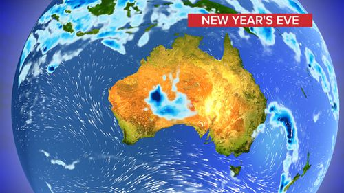 Predicted rainfall on New Year's Eve. (9NEWS)