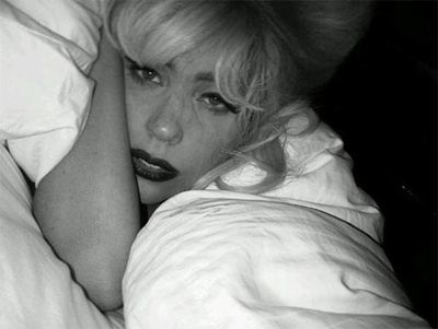 Bedding down for the night in the studio - apparently Lady Gaga even sleeps in lipstick and false eyelashes!