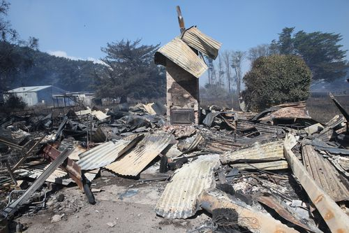 A home destroyed by fire in Cobden. (AAP)